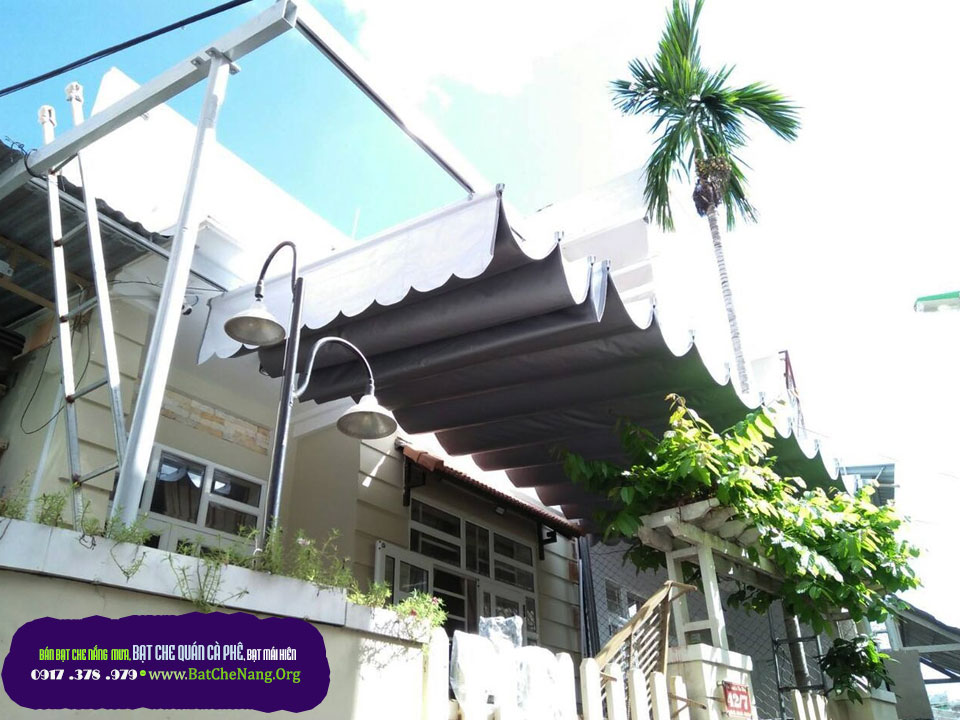 Bạt Che Nắng Mưa Quán Cafe Thủ Đức Bình Thạnh TPHCM, Mái Hiên Di Động Cho Quán Cafe Đẹp